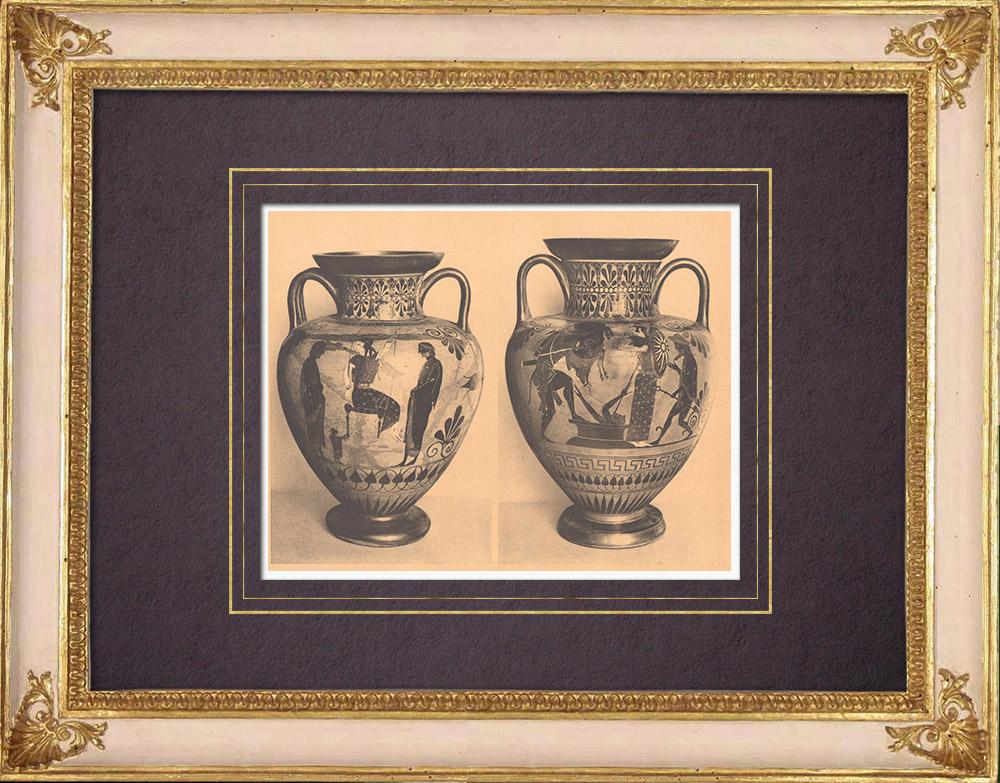 Antique Prints & Drawings | Greek vases - Attic amphora - VIth Century (Etruria) | Heliogravure | 1929
