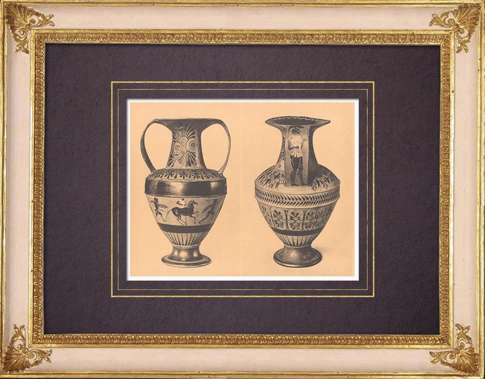 Gravures Anciennes & Dessins   Vases grecs - Amphore attique - Nicosthénès - VIème Siècle (Etrurie)   Héliogravure   1929