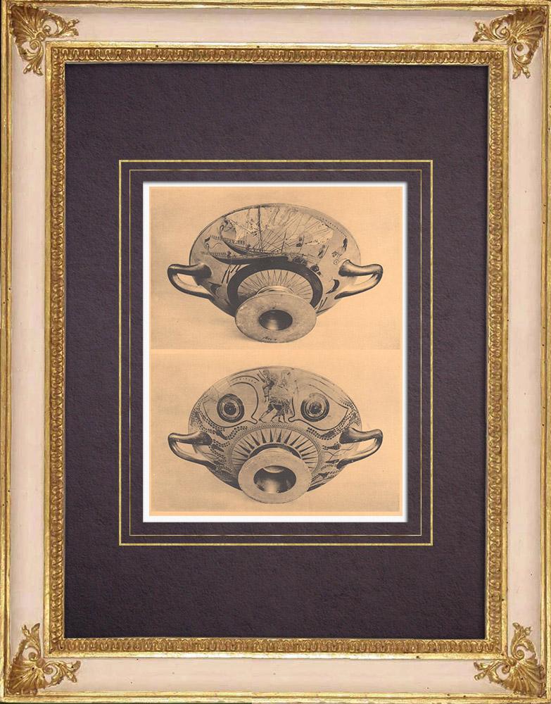 Antique Prints & Drawings | Greek vases - Attic cup - Nikosthenes - VIth Century | Heliogravure | 1929