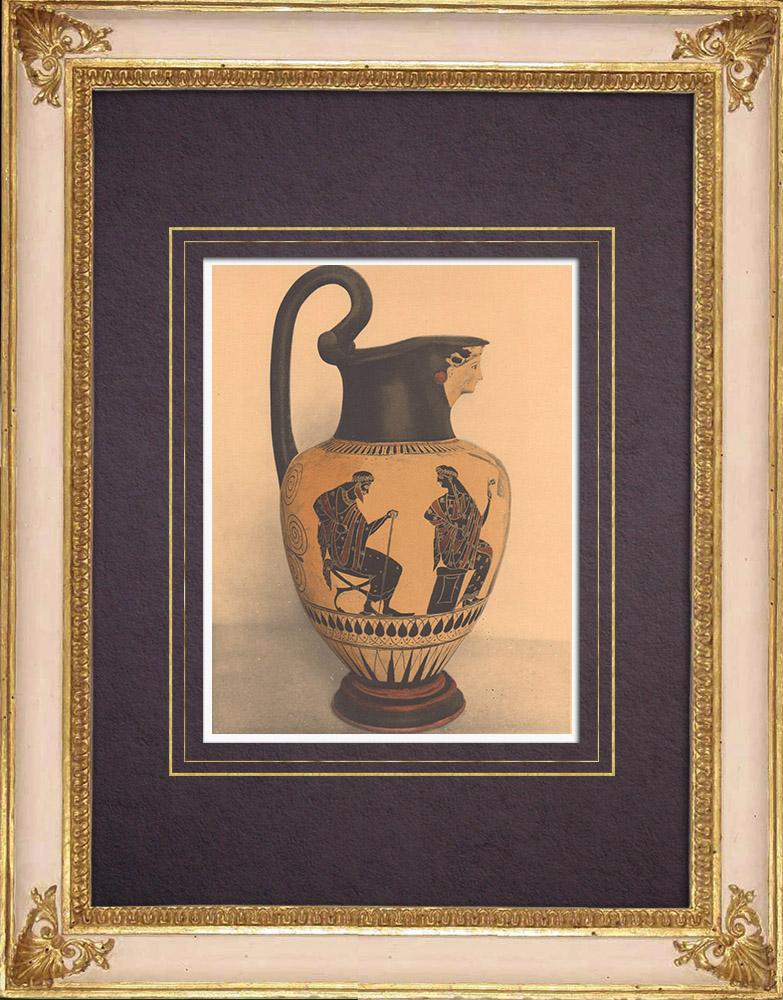 Antique Prints & Drawings | Greek vases - Attic Oenochoe of Nikosthenes - VIth Century (Etruria)  | Heliogravure | 1929