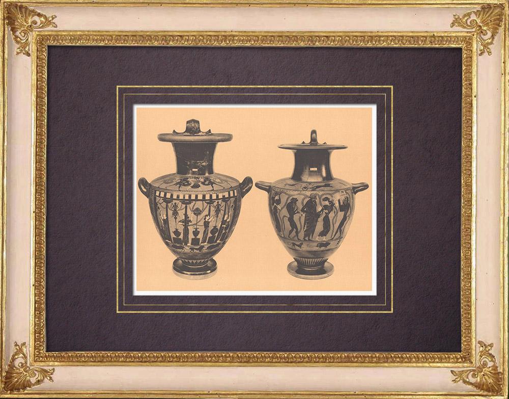 Antique Prints & Drawings   Greek vases - Attic Hydria - VIth Century (Etruria)   Heliogravure   1929