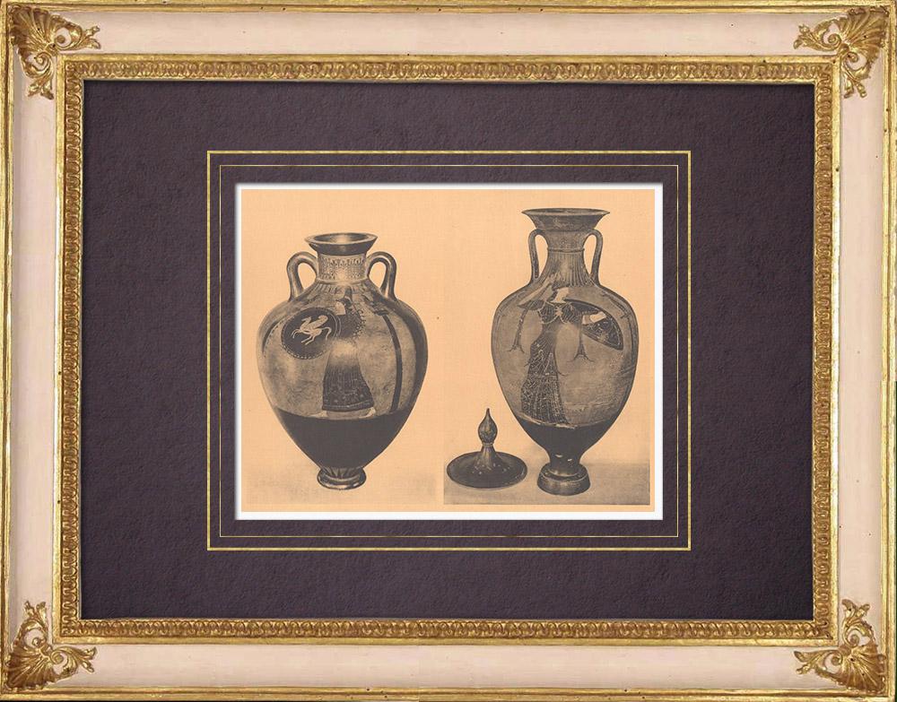 Grabados & Dibujos Antiguos | Jarrones griegos - Ánfora - Siglo VI (Etruria) | Heliograbado | 1929