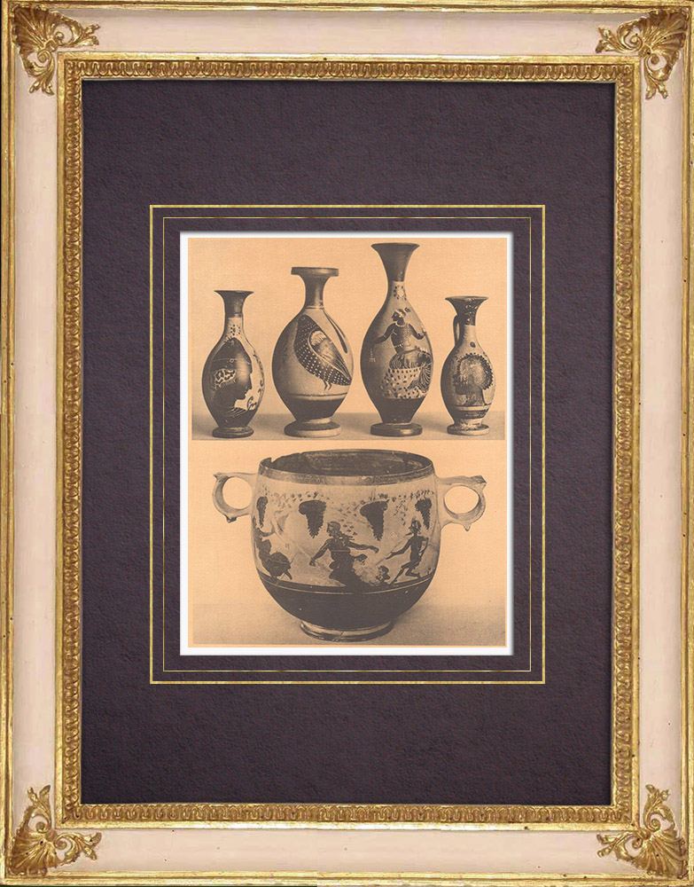 Antique Prints & Drawings | Greek vases - Four little Lekythoi - Skyphos - IVth Century | Heliogravure | 1929