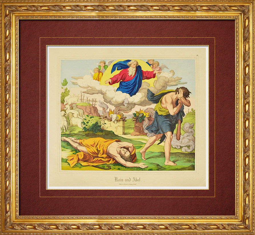 Grabados & Dibujos Antiguos | Antiguo Testamento - Caín mata a su hermano Abel | Grabado xilográfico | 1861