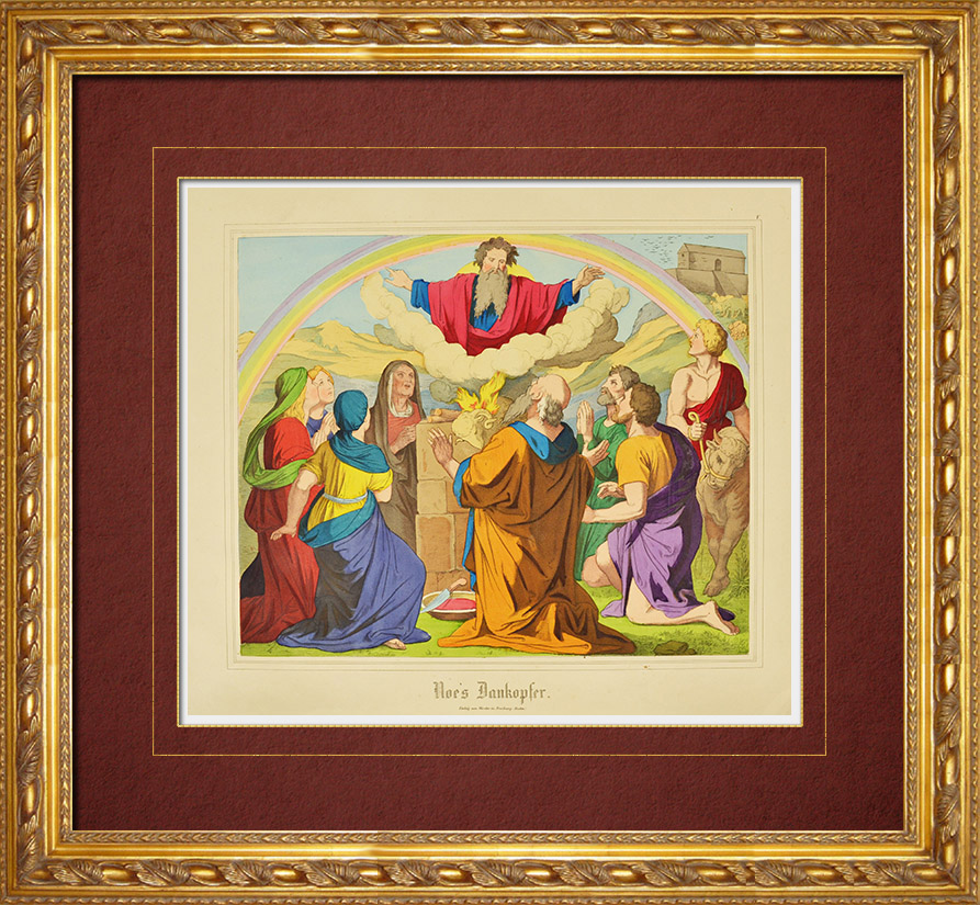 Gravures Anciennes & Dessins | Offrande de Noé à Dieu (Ancien Testament) | Gravure sur bois | 1861
