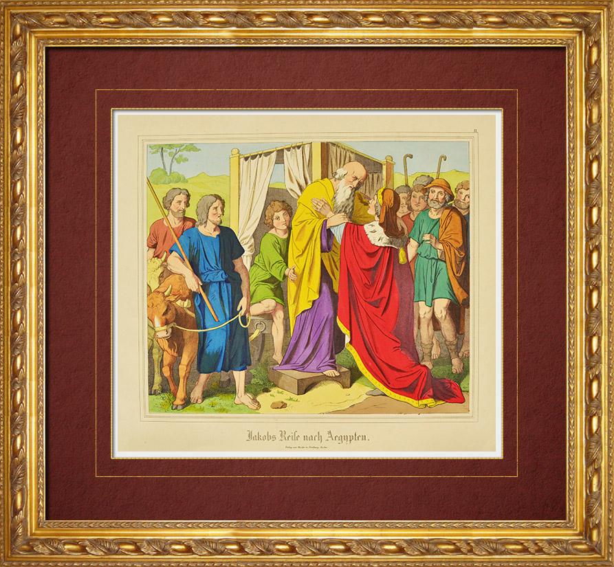 Gravures Anciennes & Dessins   Le voyage de Jacob en Egypte (Ancien Testament)   Gravure sur bois   1861