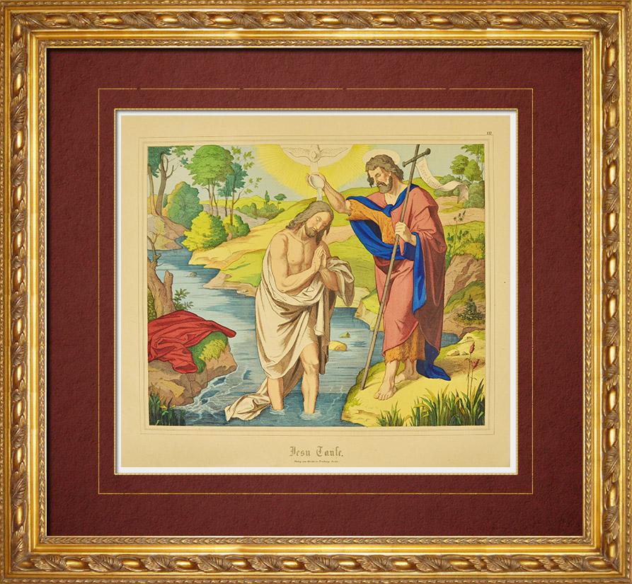 Gravures Anciennes & Dessins   Le Baptême de Jésus Christ (Nouveau Testament)   Gravure sur bois   1861