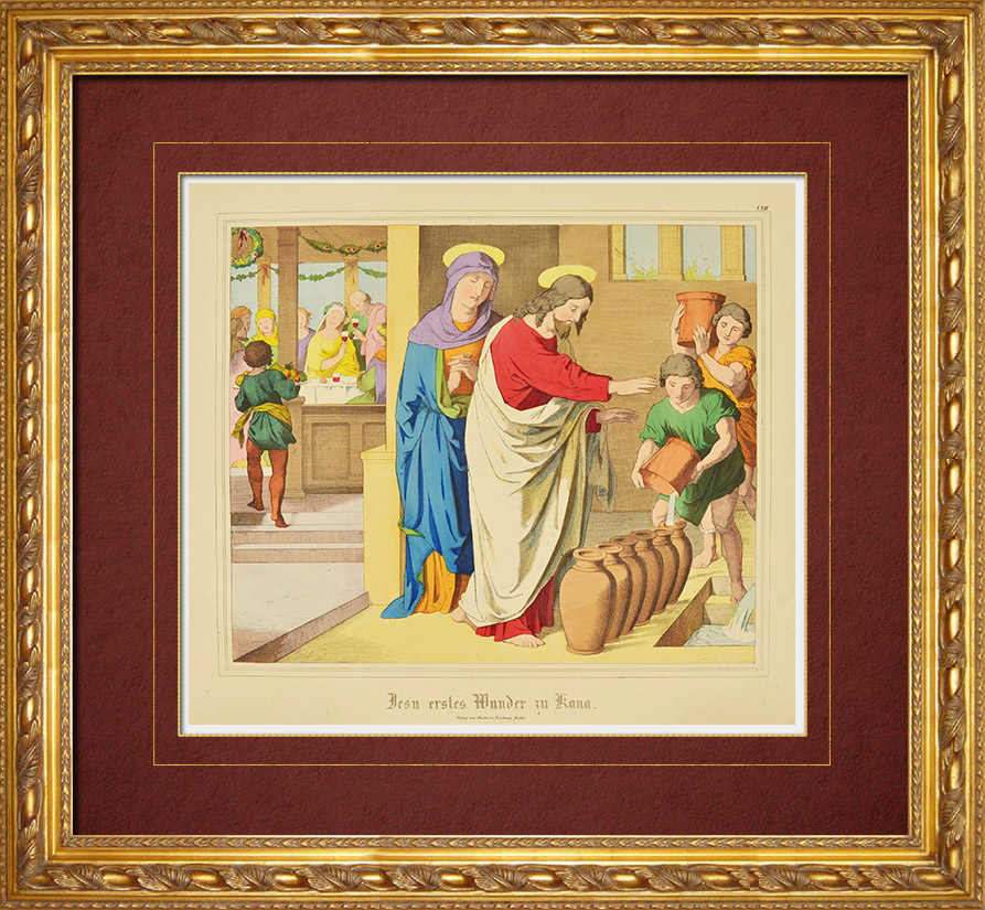 Antique Prints & Drawings | The Wedding at Cana - Miracle of Jesus (New Testament) | Wood engraving | 1861