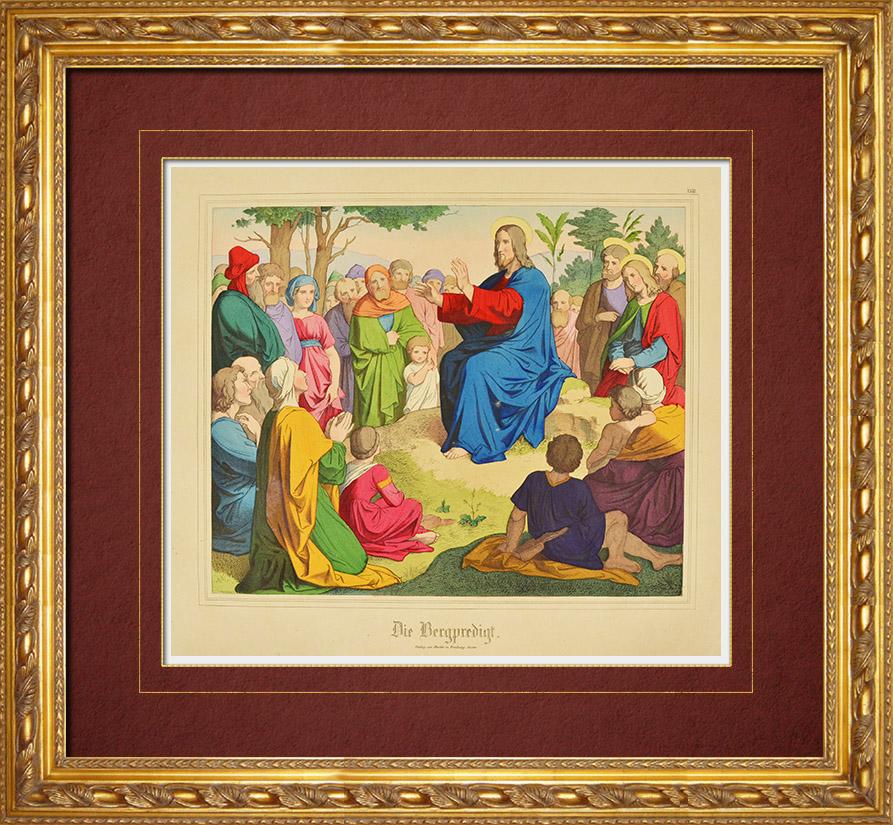 Gravures Anciennes & Dessins | Sermon de Jésus sur la montagne (Nouveau Testament) | Gravure sur bois | 1861