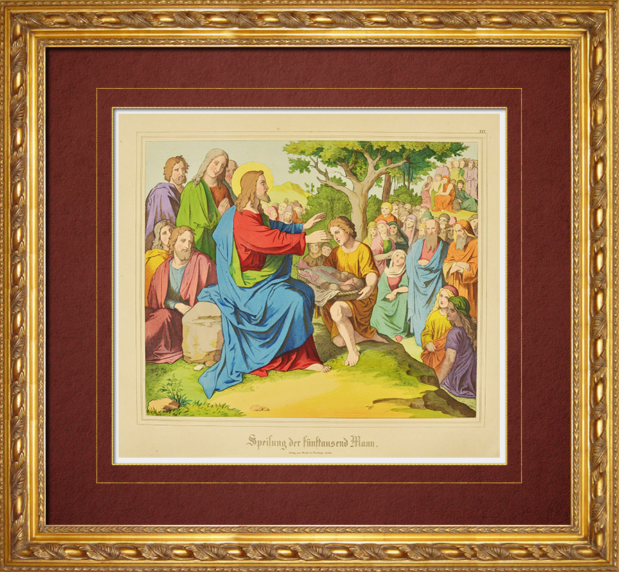 Antique Prints & Drawings | Feeding the multitude - Miracles of Jesus (New Testament) | Wood engraving | 1861