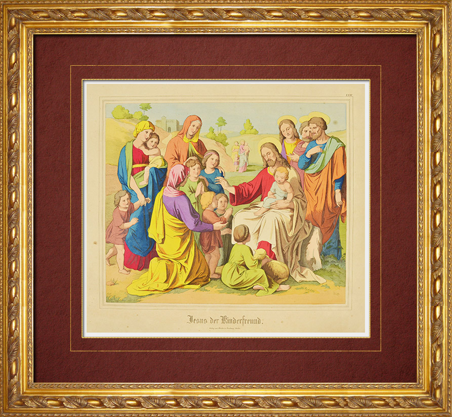 Antique Prints & Drawings | Jesus friend of the children (New Testament) | Wood engraving | 1861