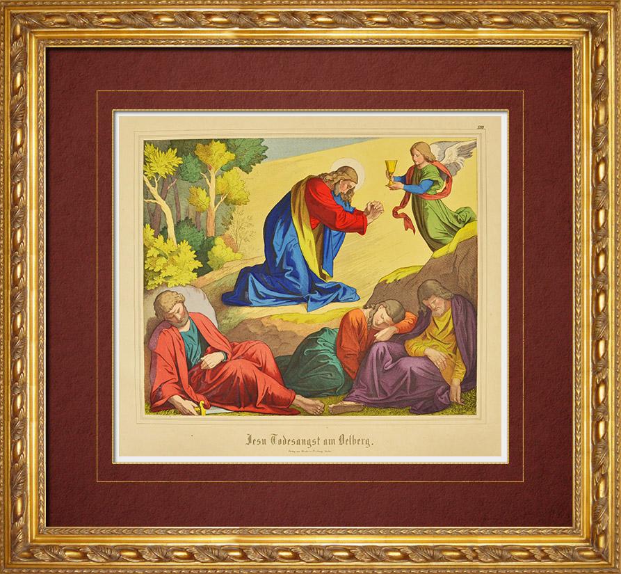 Gravures Anciennes & Dessins | Le Christ sur le Mont des Oliviers - Ange (Nouveau Testament) | Gravure sur bois | 1861