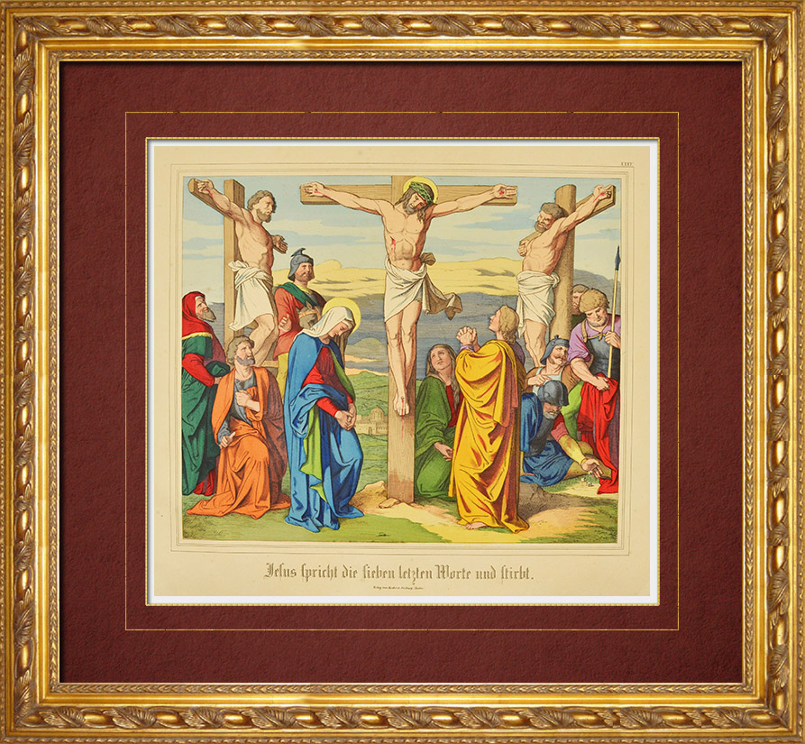 Antique Prints & Drawings | Crucifixion of Jesus - Christ on the Cross between two Thieves (New Testament) | Wood engraving | 1861