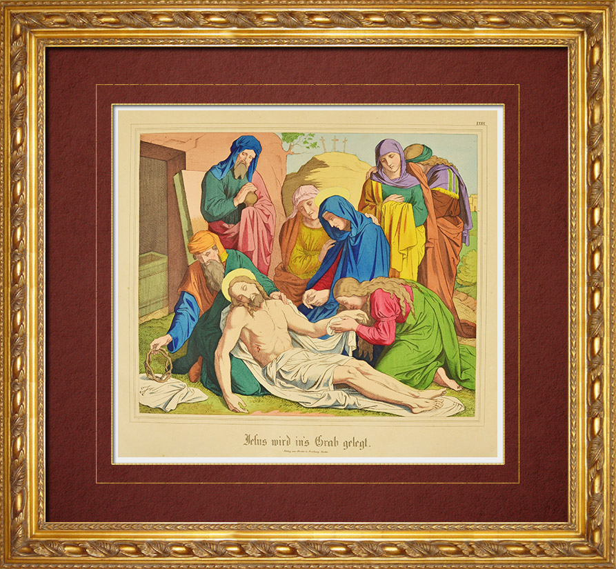 Antique Prints & Drawings | The Deposition - Entombment of Jesus Christ (New Testament) | Wood engraving | 1861