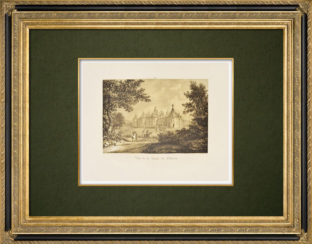 Antique Prints & Drawings   Château de Chambord - Facade - Loir-et-Cher (France)   Lithography   1821