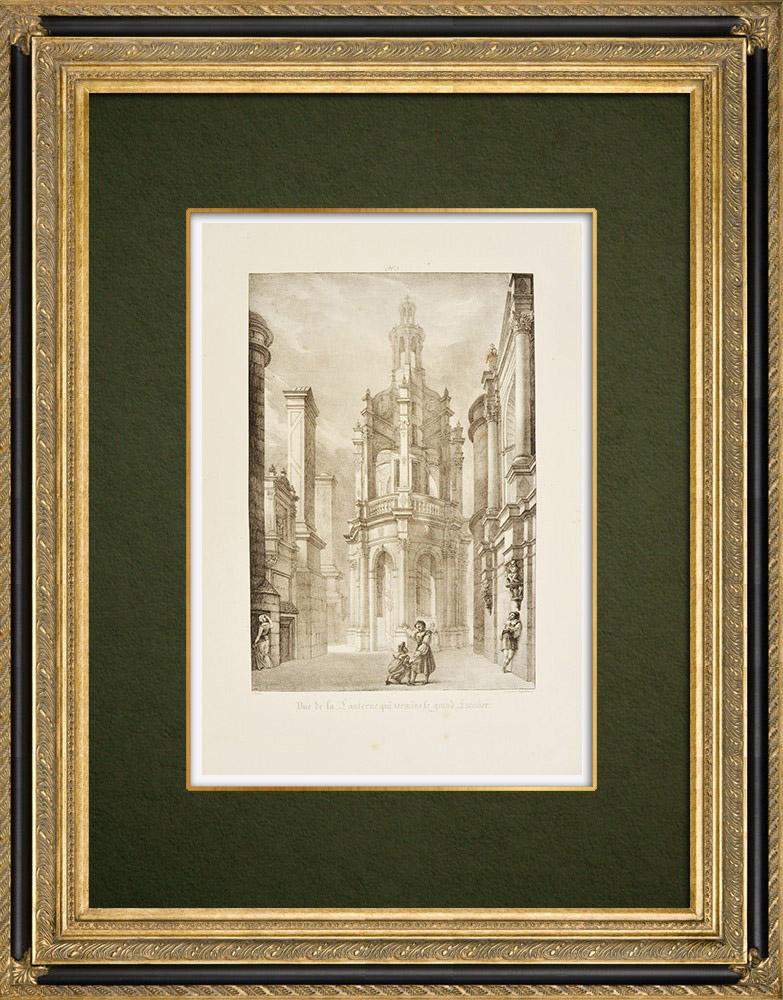 Antique Prints & Drawings | Château de Chambord - Lantern - Loir-et-Cher (France)  | Lithography | 1821