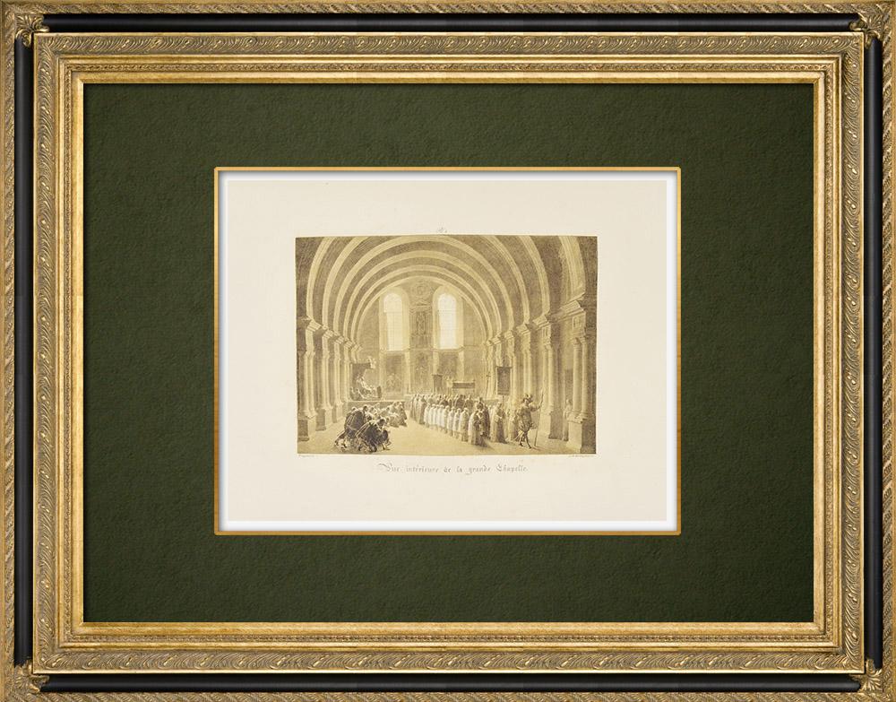 Gravures Anciennes & Dessins | Château de Chambord - Vue intérieure de la Chapelle - Loir-et-Cher (France) | Lithographie | 1821