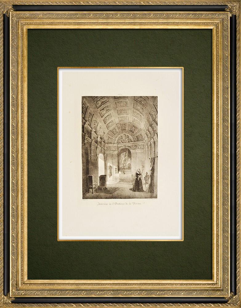Gravures Anciennes & Dessins | Château de Chambord - Oratoire de la Reine - Loir-et-Cher (France) | Lithographie | 1821