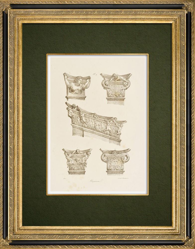 Antique Prints & Drawings   Château de Chambord - Capitals - Loir-et-Cher (France)     Lithography   1821
