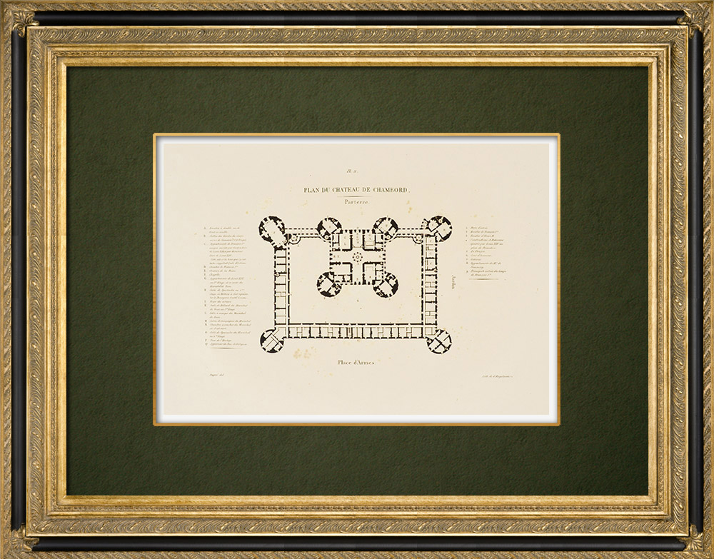 Gravures Anciennes & Dessins   Château de Chambord - Plan - Loir-et-Cher (France)   Lithographie   1821