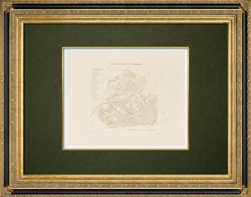Antique Prints & Drawings | Château de Chambord - Plan of the Park - Loir-et-Cher (France)  | Lithography | 1821