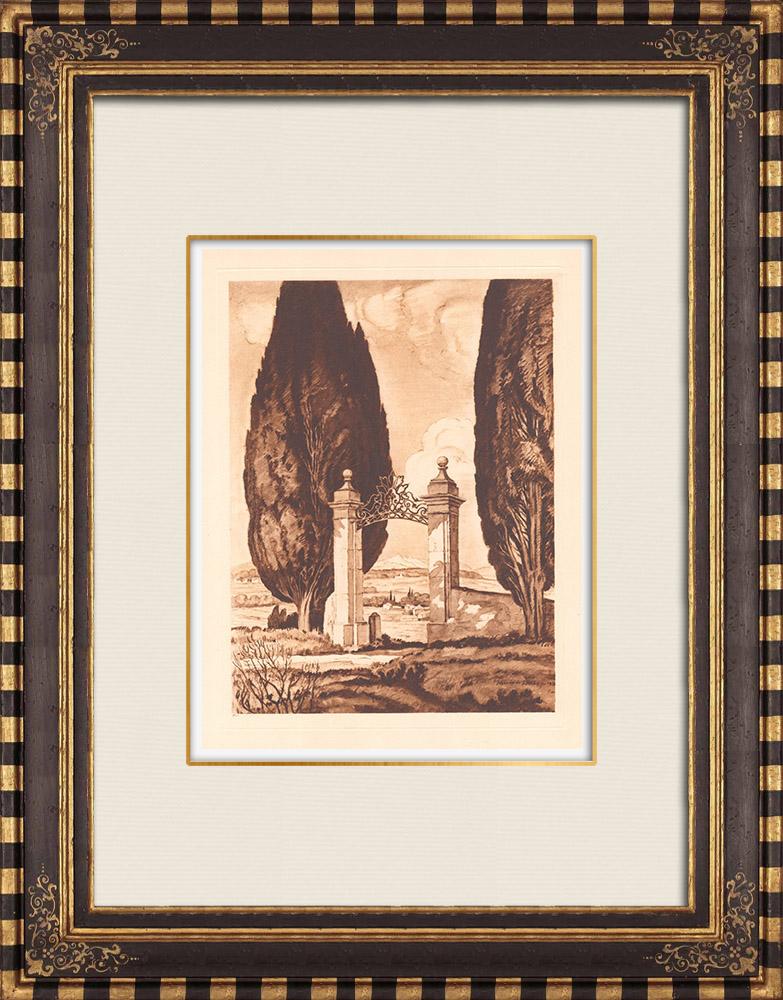 Gravures Anciennes & Dessins   Un portail près de Aix-en-Provence - Bouches-du-Rhône (France)   Gravure sur cuivre   1943