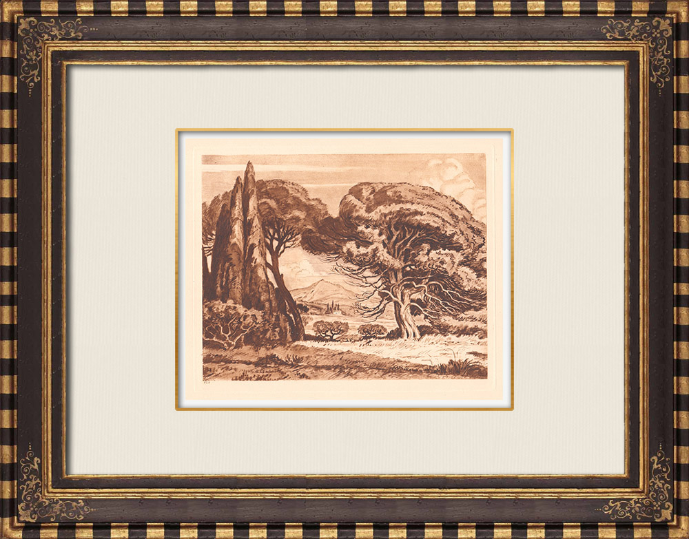 Gravures Anciennes & Dessins | Paysage des environs de Aix-en-Provence - Bouches-du-Rhône (France) | Gravure sur cuivre | 1943