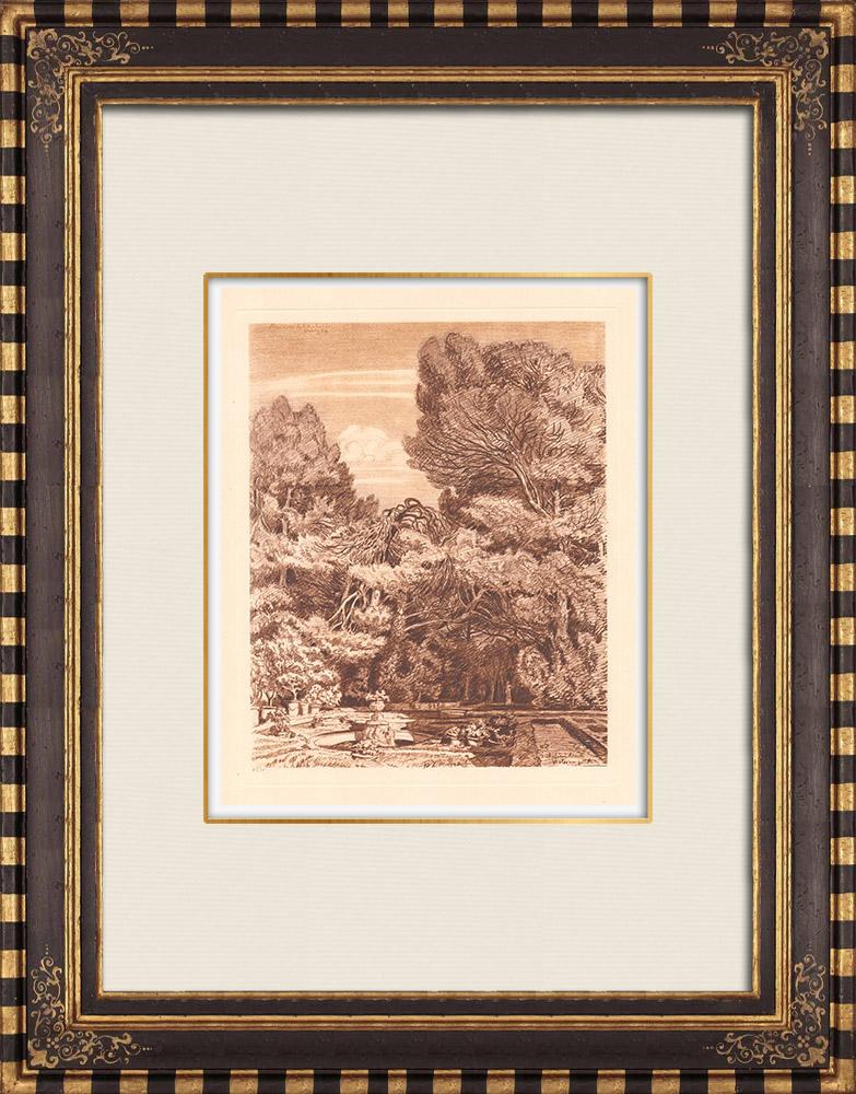 Antique Prints & Drawings | Castle Violaine near Aix en Provence - Bouches-du-Rhône (France) | Copper engraving | 1943