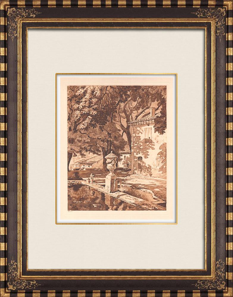 Antique Prints & Drawings | Heurtebise Fountain - Aix-en-Provence - Bouches-du-Rhône (France) | Copper engraving | 1943