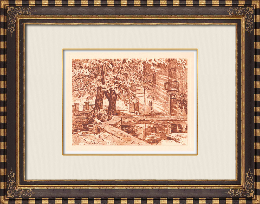 Gravures Anciennes & Dessins   La Gravesonne près de Aix-en-Provence - Bouches-du-Rhône (France)   Gravure sur cuivre   1943
