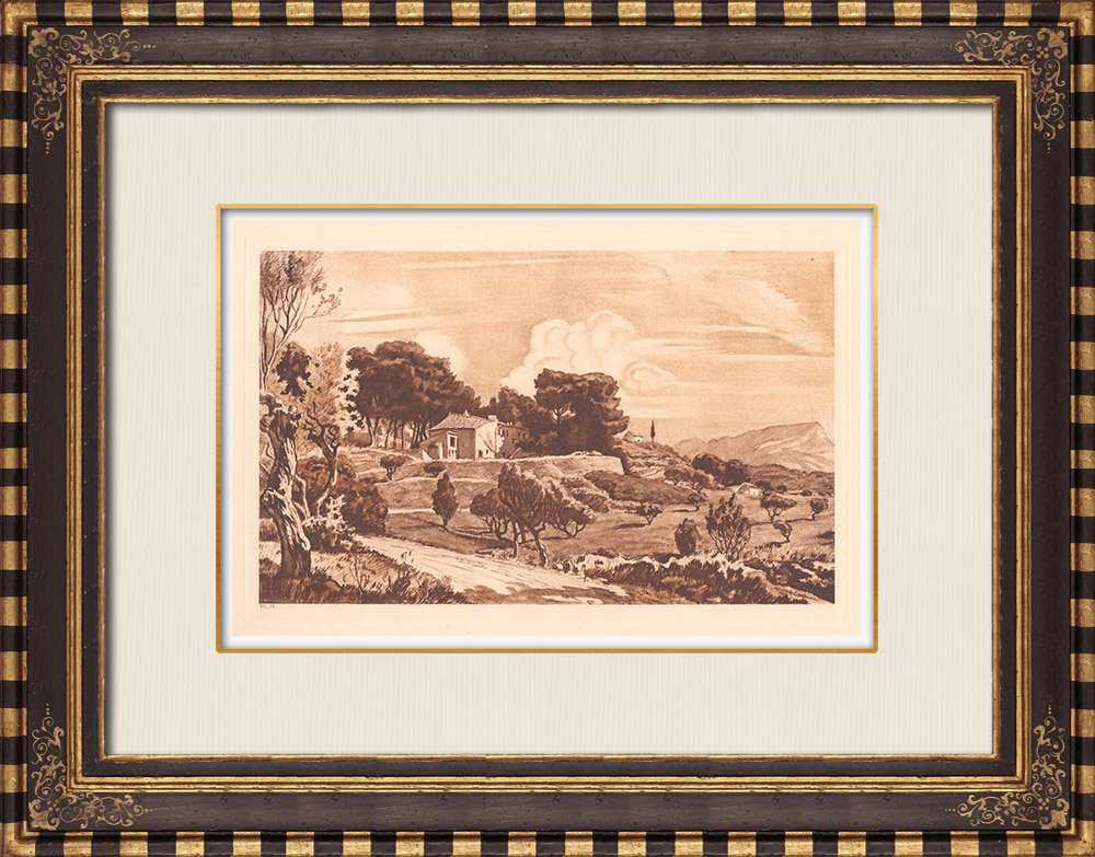 Antique Prints & Drawings | Entremonts - Archaeological site - Aix-en-Provence (France) | Copper engraving | 1943