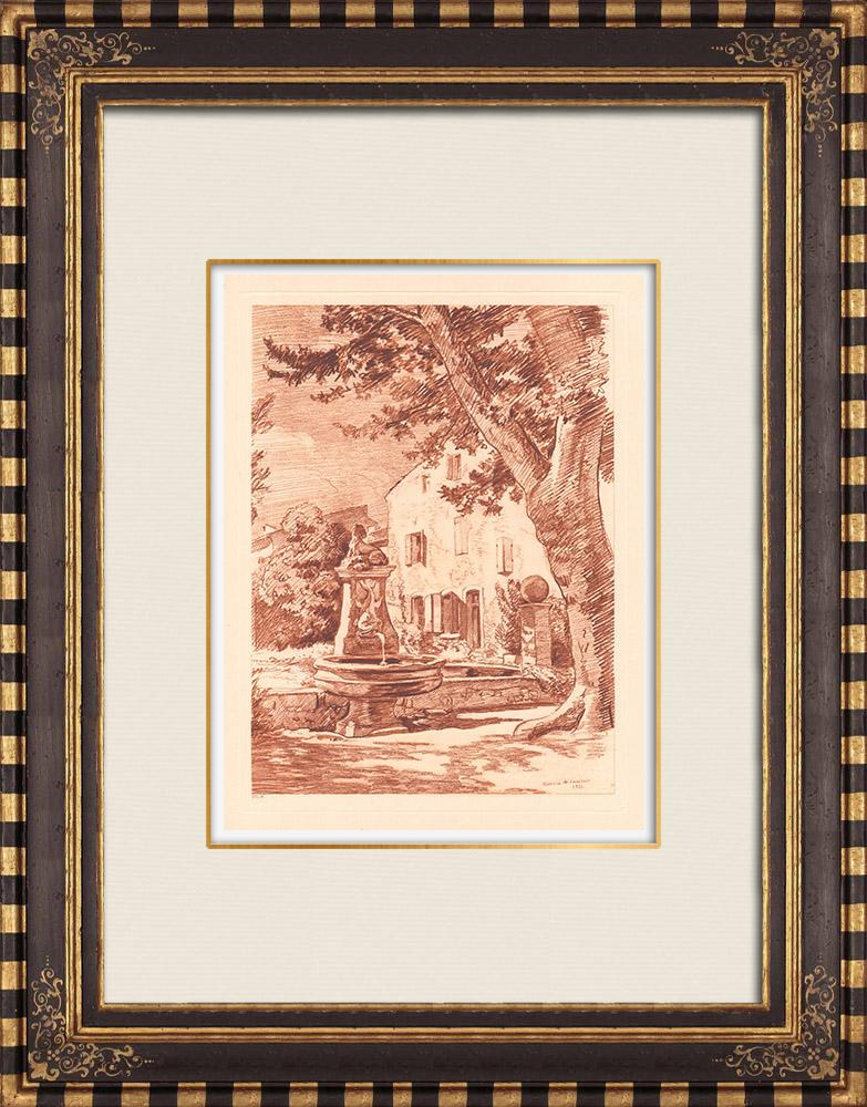 Gravures Anciennes & Dessins | Fonvert - La fontaine - Aix-en-Provence - Bouches-du-Rhône (France) | Gravure sur cuivre | 1943
