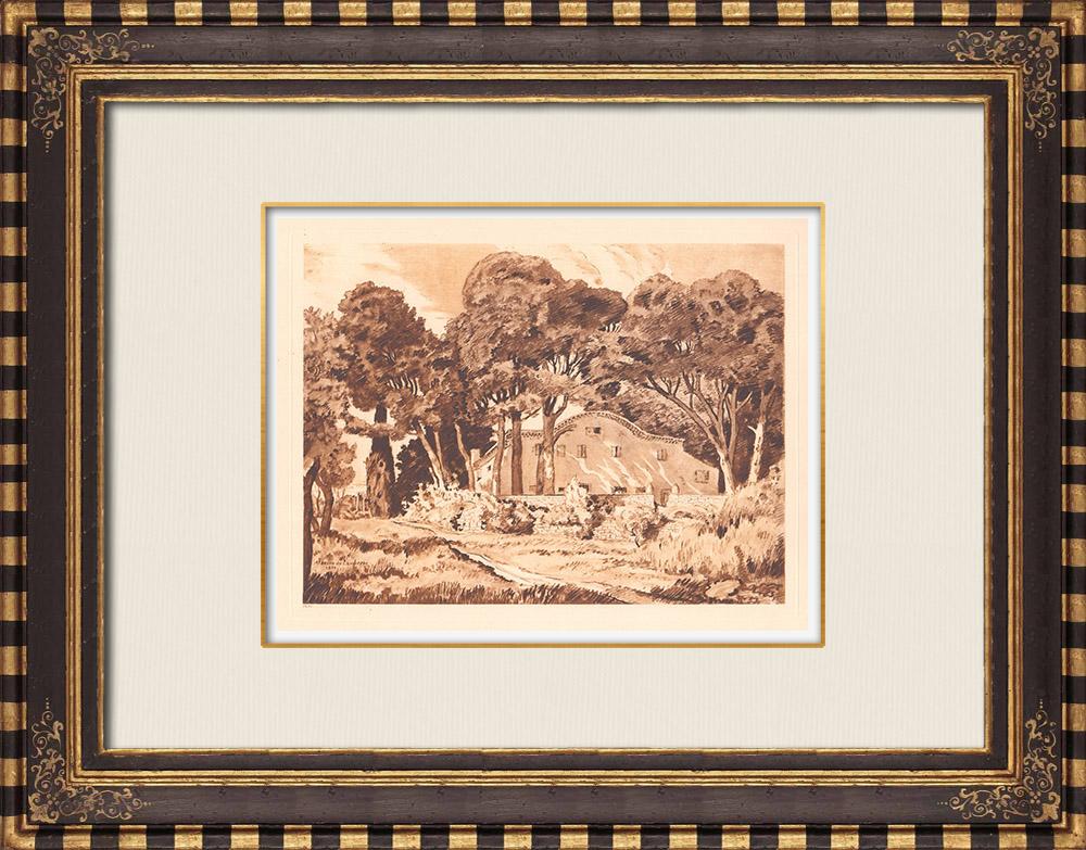 Antique Prints & Drawings | Provencal house - Provence-Alpes-Côte d'Azur (France) | Copper engraving | 1943