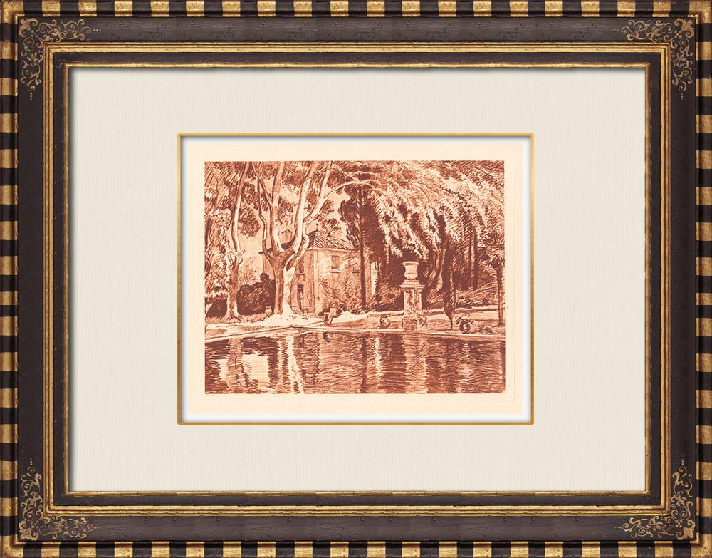 Gravures Anciennes & Dessins | Un bassin sous les platanes près de Marseille - Provence-Alpes-Côte d'Azur (France) | Gravure sur cuivre | 1943