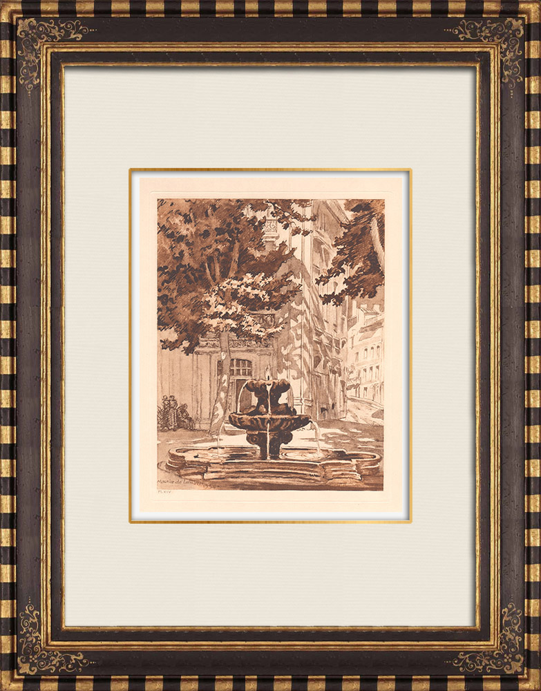 Antique Prints & Drawings   Fountain - Fontaine des Neuf-Canons - Aix-en-Provence (France)   Copper engraving   1943