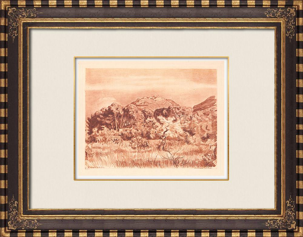 Antique Prints & Drawings | View of Ventabren - Bouches-du-Rhône - Provence-Alpes-Côte d'Azur (France) | Copper engraving | 1943