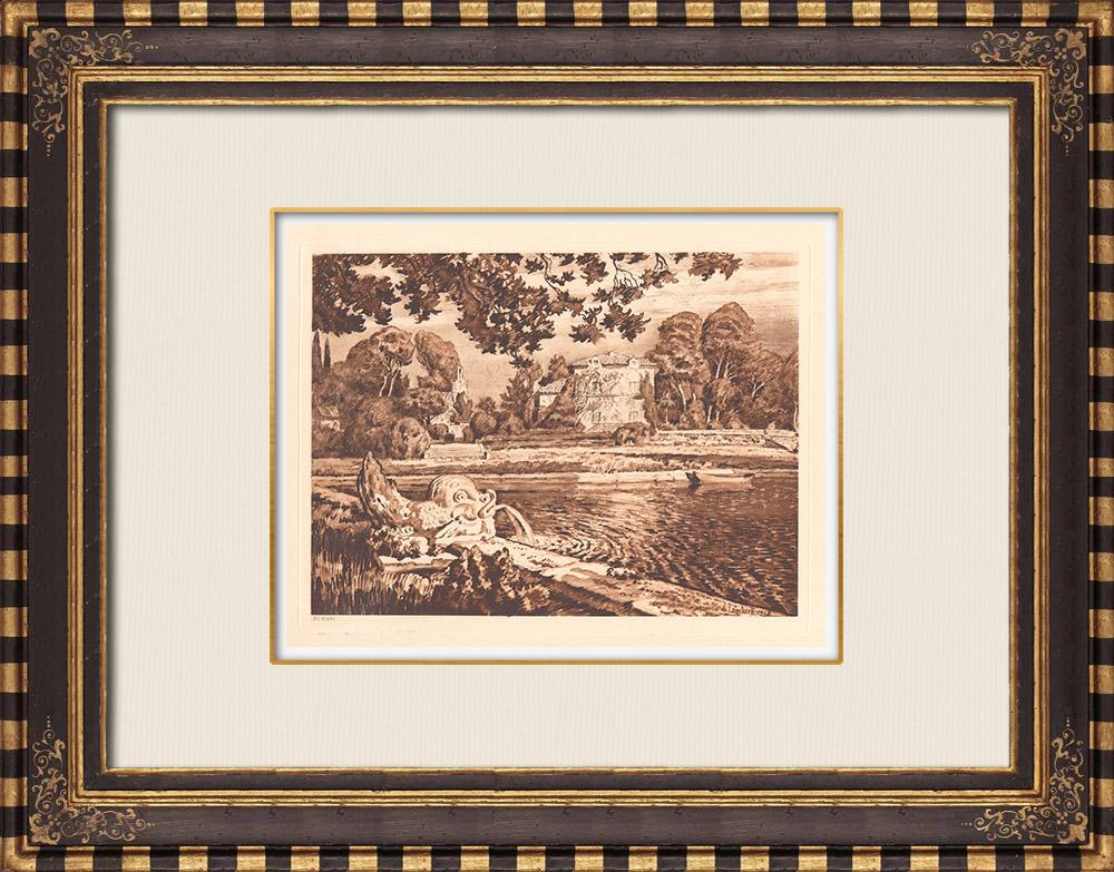 Antique Prints & Drawings | Grand-Saint-Jean - Basin - Aix-en-Provence (France) | Copper engraving | 1943