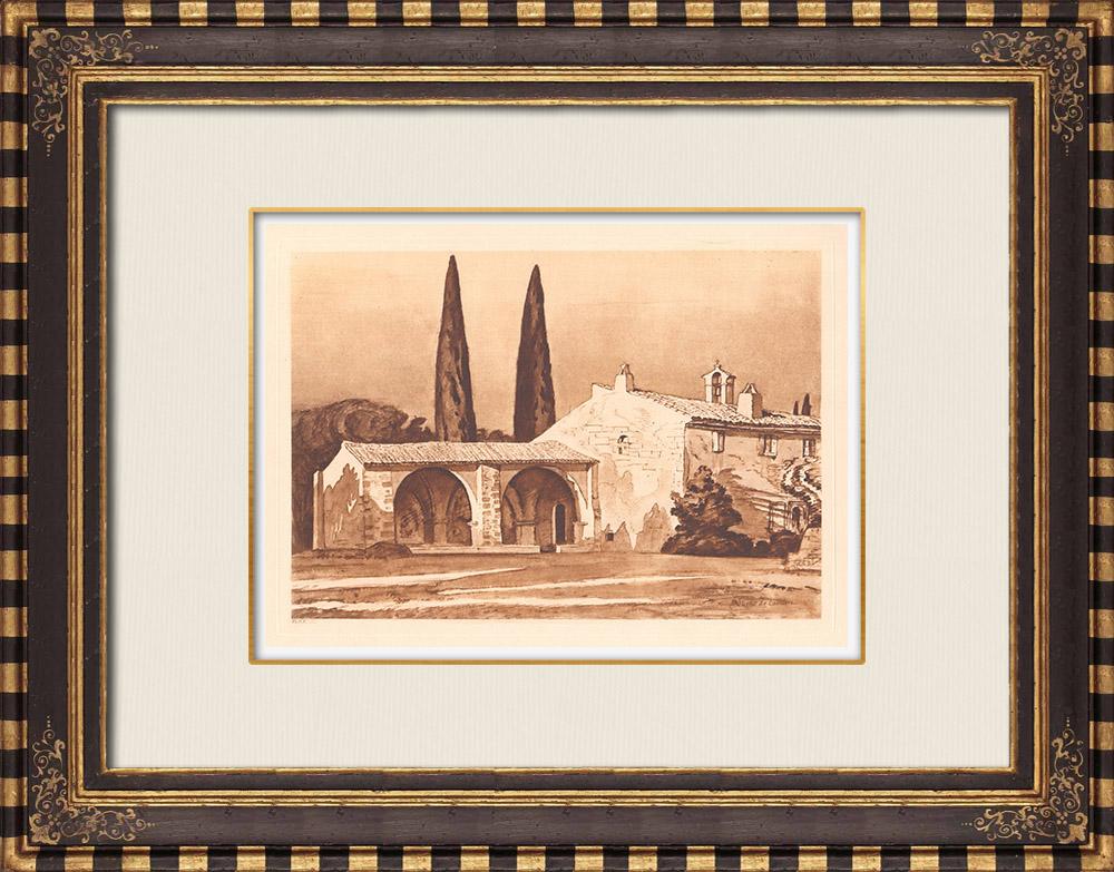 Antique Prints & Drawings | Saint-Pancrace Chapel - Pradines castle in Grambois - Vaucluse (France) | Copper engraving | 1943