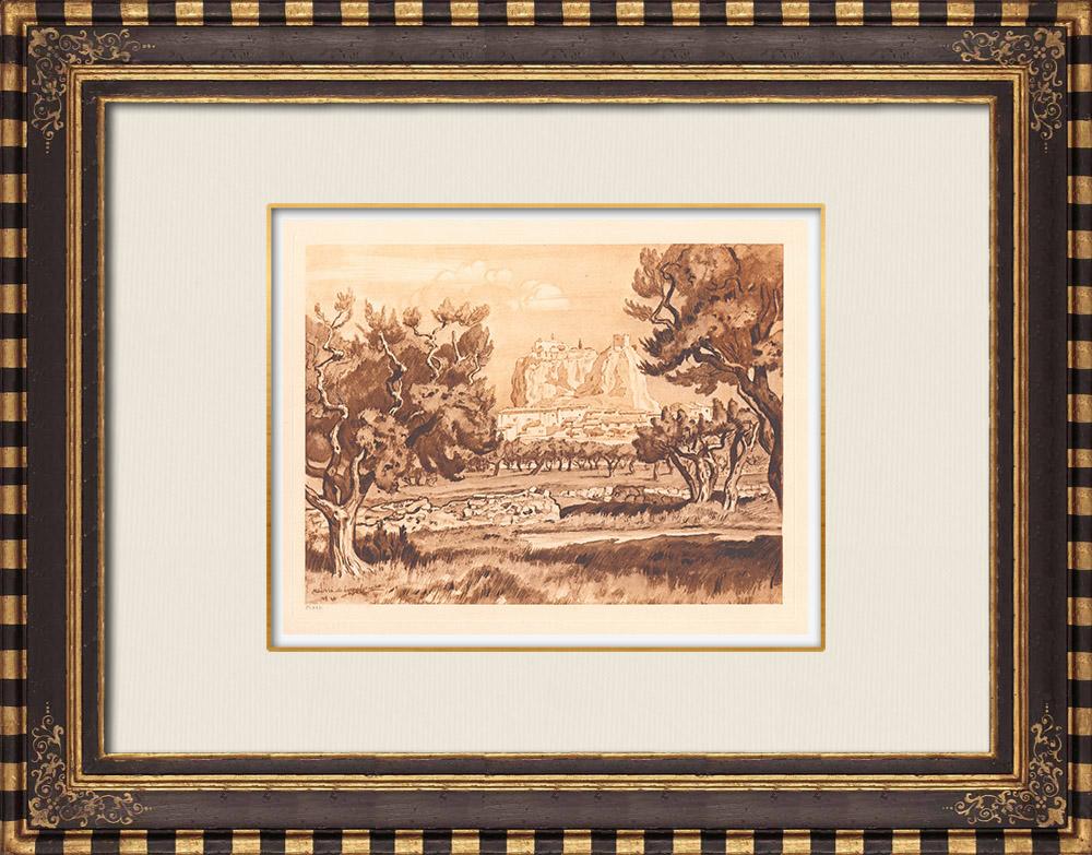 Antique Prints & Drawings | View of Vitrolles - Tour Sarrasine - Provence-Alpes-Côte d'Azur (France) | Copper engraving | 1943