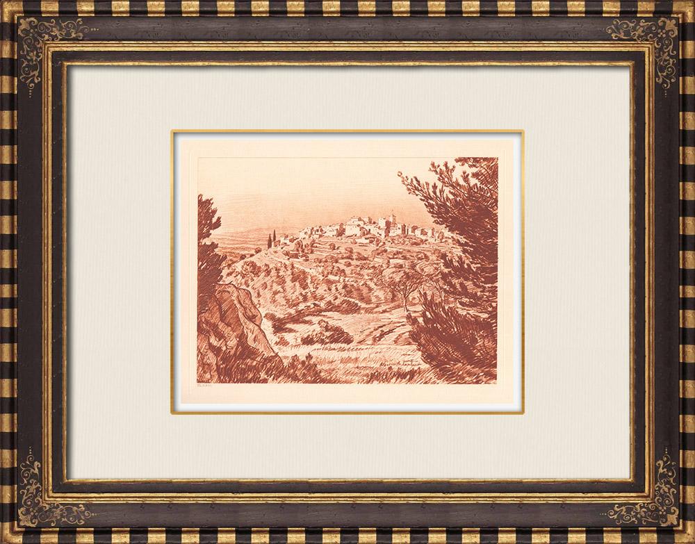 Antique Prints & Drawings | View of Mimet - Bouches-du-Rhône - Provence-Alpes-Côte d'Azur (France) | Copper engraving | 1943