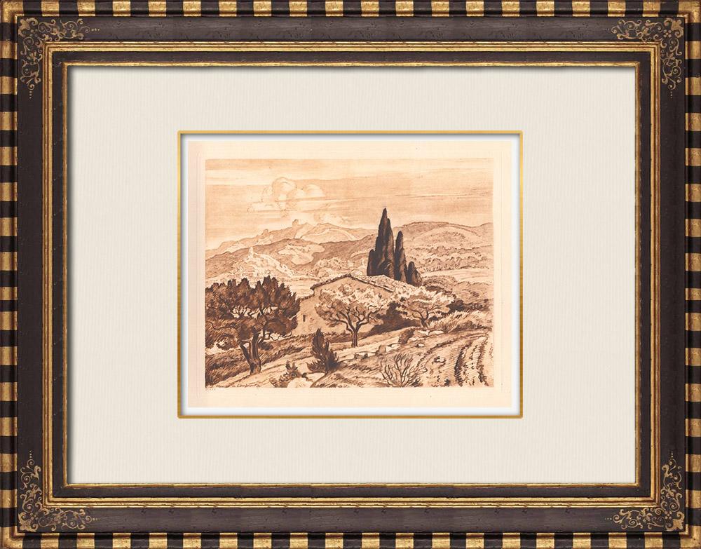 Gravures Anciennes & Dessins | Vue de Simiane - Provence-Alpes-Côte d'Azur (France) | Gravure sur cuivre | 1943