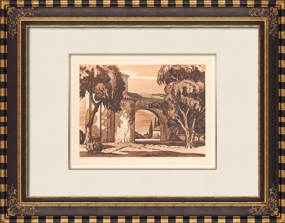 Gravures Anciennes & Dessins | Domaine de Saint-Hospice - Saint-Jean-Cap-Ferrat - Provence-Alpes-Côte d'Azur (France) | Gravure sur cuivre | 1943