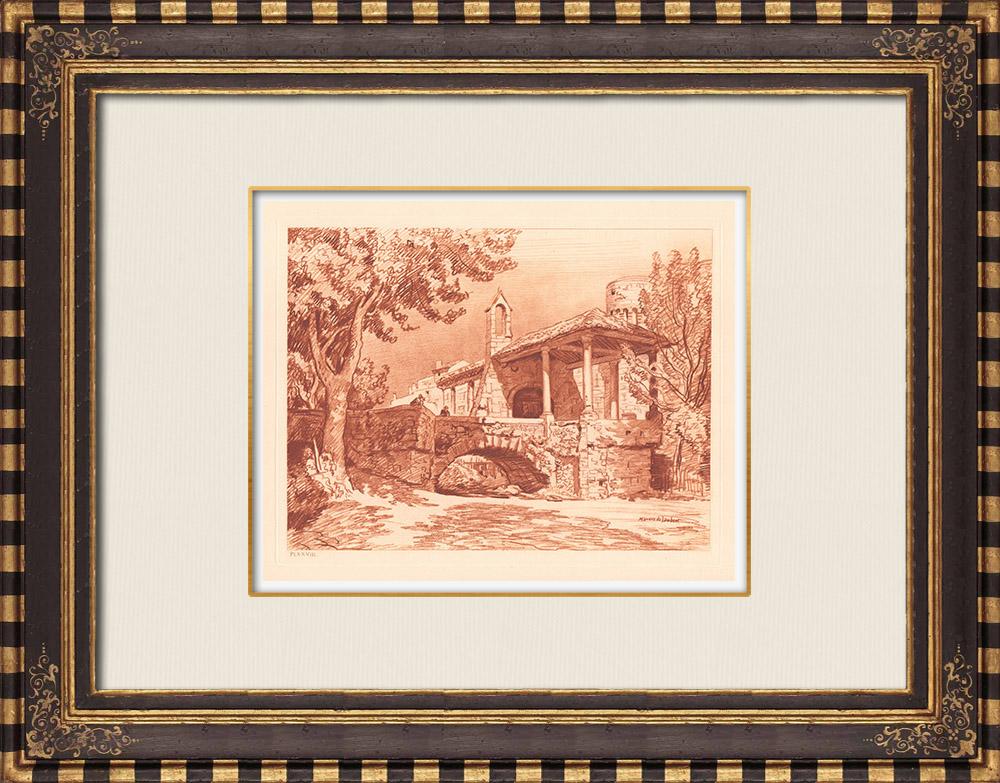 Antique Prints & Drawings | Pernes-les-Fontaines Bridge - Chapel - Provence-Alpes-Côte d'Azur (France) | Copper engraving | 1943