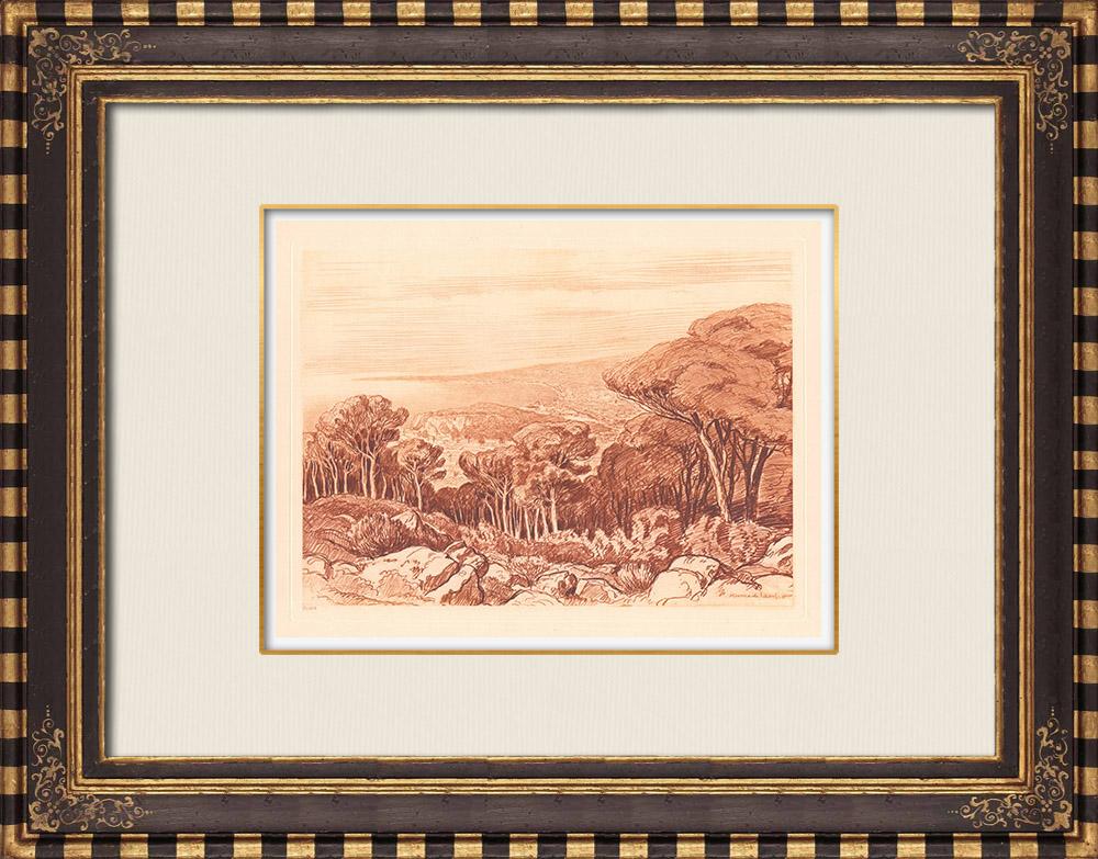 Gravures Anciennes & Dessins | Baie des Anges - Méditerranée - Mont Boron - Nice - Provence-Alpes-Côte d'Azur (France) | Gravure sur cuivre | 1943