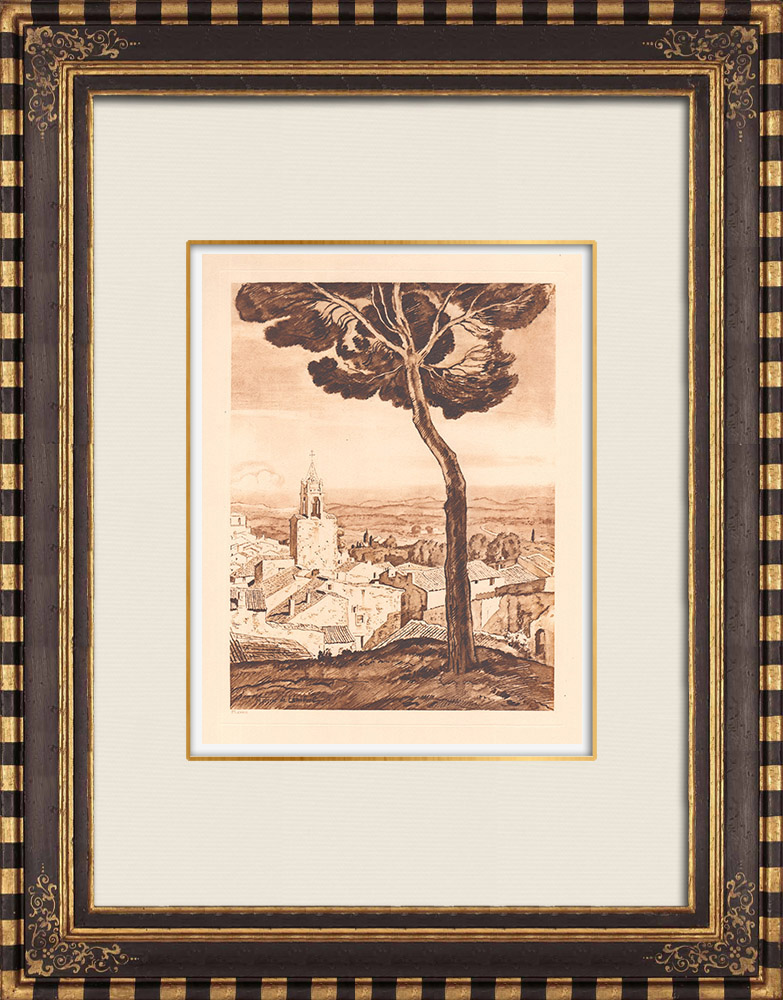Gravures Anciennes & Dessins | Vue de Cucuron - Vaucluse - Provence-Alpes-Côte d'Azur (France) | Gravure sur cuivre | 1943