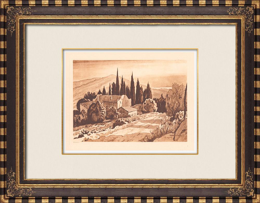 Gravures Anciennes & Dessins   Une Bastide près de La Ciotat - Bouches-du-Rhône - Provence-Alpes-Côte d'Azur (France)   Gravure sur cuivre   1943
