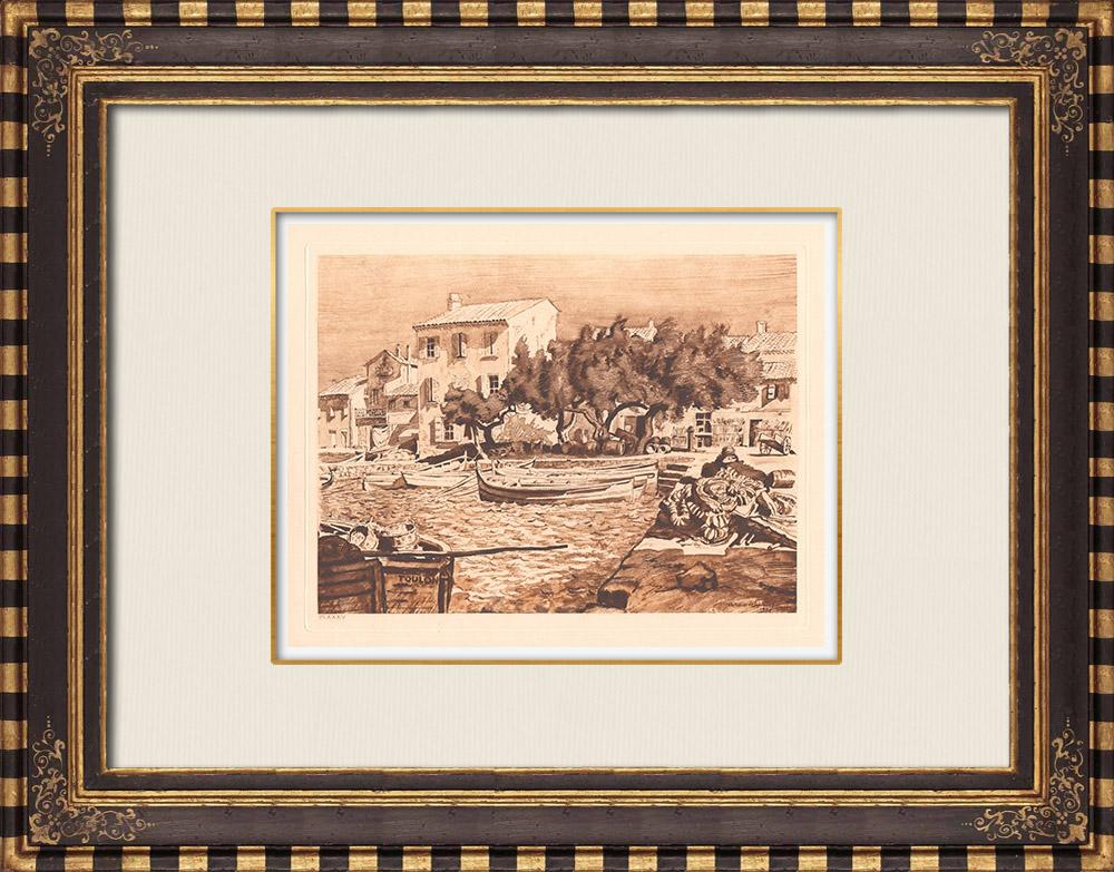 Gravures Anciennes & Dessins   Port - Port du Brusc - Var - Provence-Alpes-Côte d'Azur (France)   Gravure sur cuivre   1943