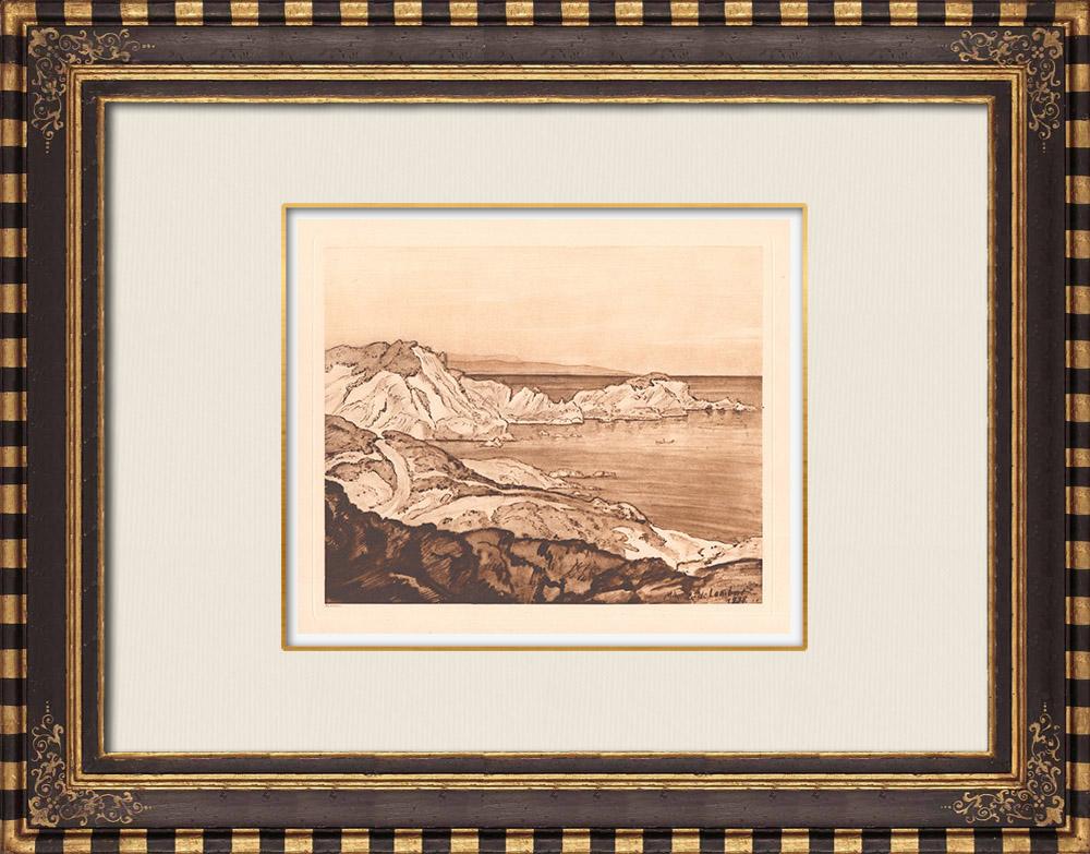 Gravures Anciennes & Dessins   Île du Grand Ribaud - Hyères - Méditerranée - Var - Provence-Alpes-Côte d'Azur (France)   Gravure sur cuivre   1943