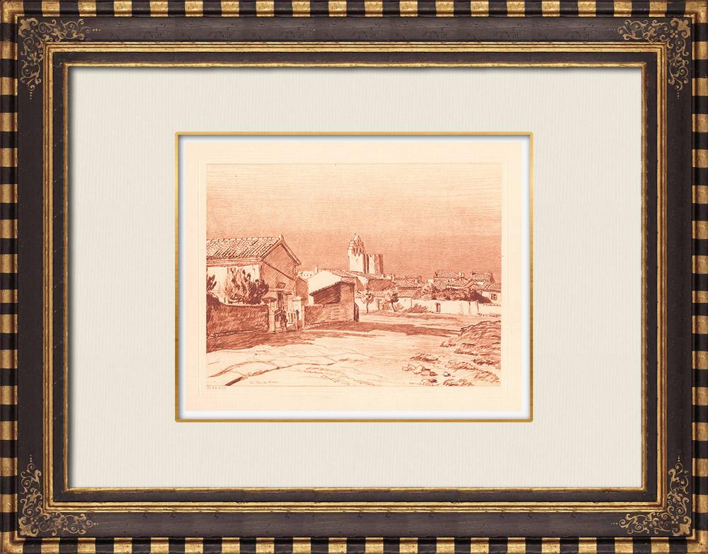 Gravures Anciennes & Dessins | Vue des Saintes-Maries-de-la-Mer - Camargue - Provence-Alpes-Côte d'Azur (France) | Gravure sur cuivre | 1943