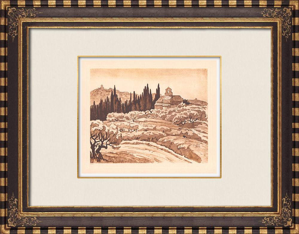 Gravures Anciennes & Dessins | Vue de Théziers près de Avignon - Gard - Languedoc-Roussillon (France) | Gravure sur cuivre | 1943